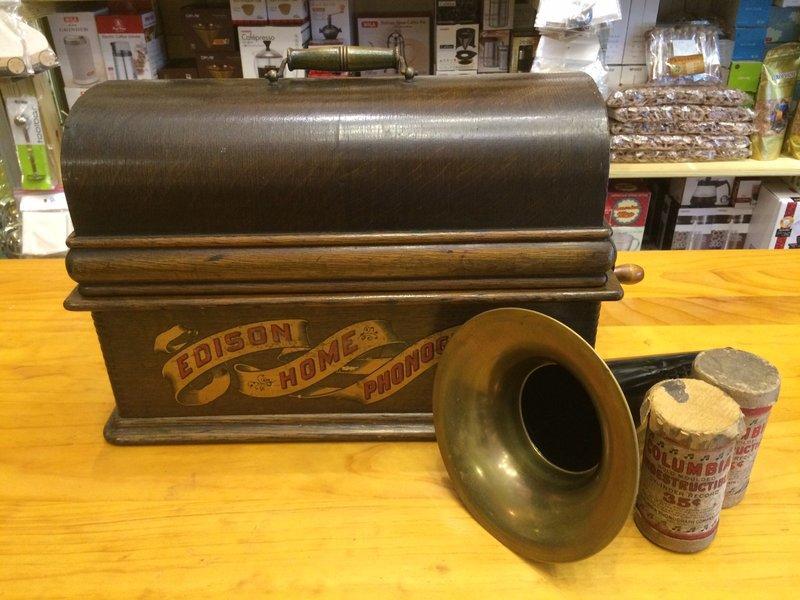 (約1898~1901年間製造) 愛迪生 蠟筒式留聲機 收藏 餐廳展示