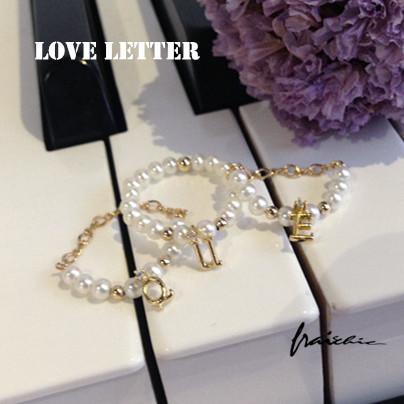 【 】美國14注金淡水珍珠戒指 字母吊墜指環 女 禮物