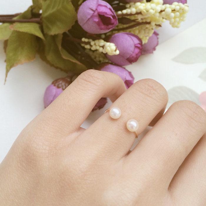 方糖家。14包金戒指。級天然淡水珍珠開口戒指 關節戒