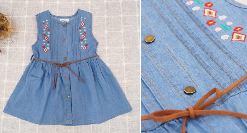 小蜜桃精緻童裝衣舖**B041806藍色牛仔繡花無袖排釦洋裝特價200元可面交