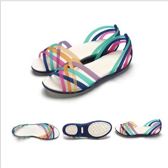 DITTER 2020新款女款洞洞鞋 魚嘴平底水晶涼鞋 七彩塑膠沙灘鞋 女涼鞋#16260