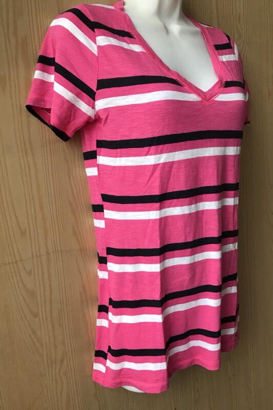全新 Hollister 粉紅色條紋 短袖上衣S 短t恤T-shirt