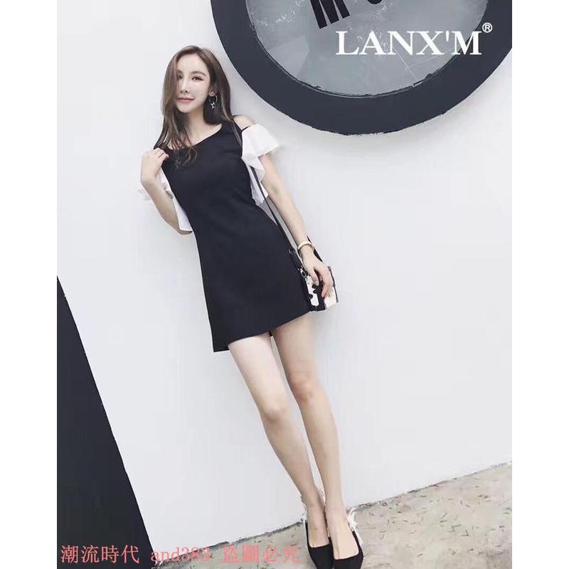 泰國潮牌復古赫本風黑白撞色露肩荷葉袖修身收腰顯瘦連衣裙夏
