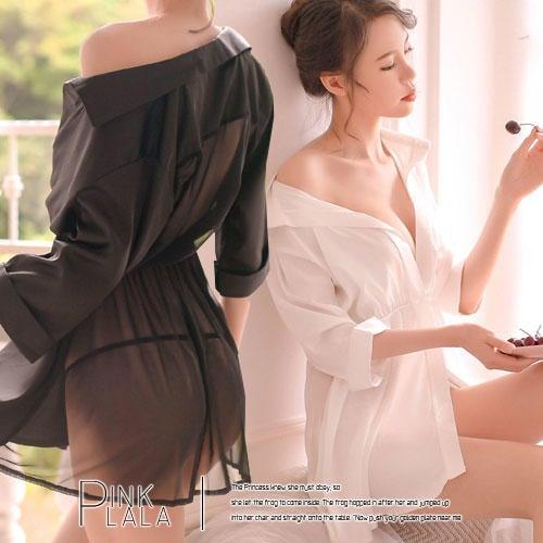 粉紅拉拉【PGD9237】浪漫邂逅x雙材質完美結合 前光澤絲質緞面 後細柔網紗 單扣襯衫式連身裙 性感睡衣