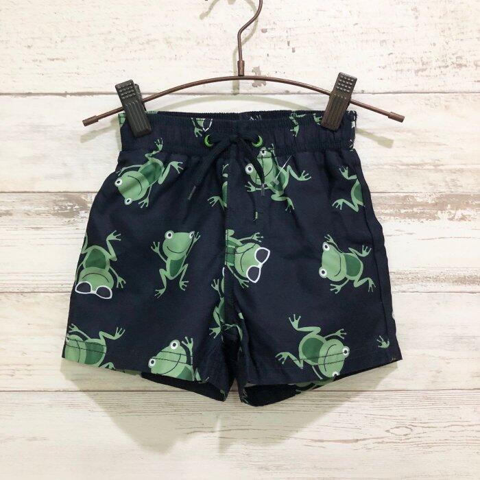 Maple麋鹿小舖 美國購買童裝品牌 GYMBOREE 男童深藍色青蛙圖樣短褲 * ( 現貨12-18 mos )