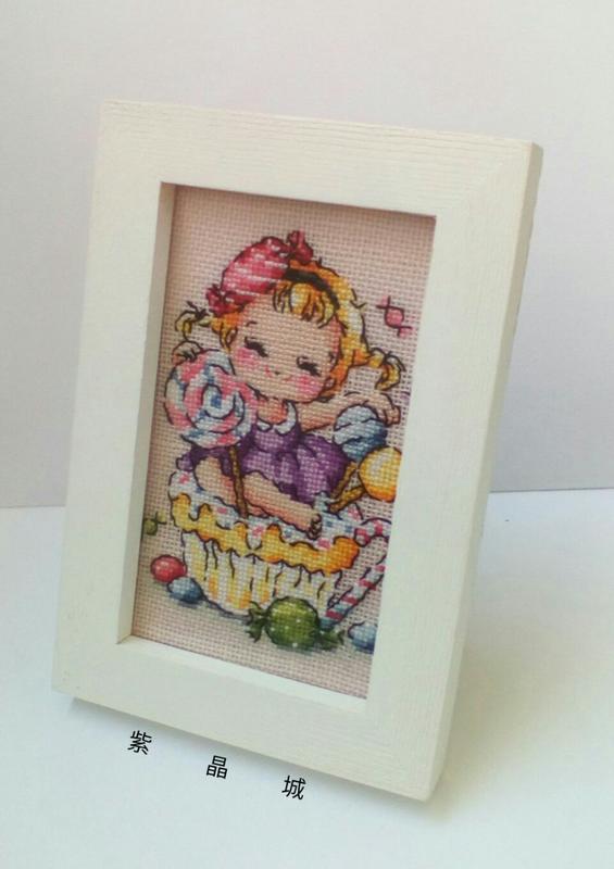 紫晶城 十字繡 杯子蛋糕 糖果女孩 相框 擺飾
