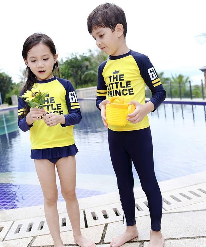 兒童泳裝╭☆°安可小舖*F19長袖仁寶黃長袖防曬兒童泳衣二件式小朋友游泳衣泳裝正品,售價580元