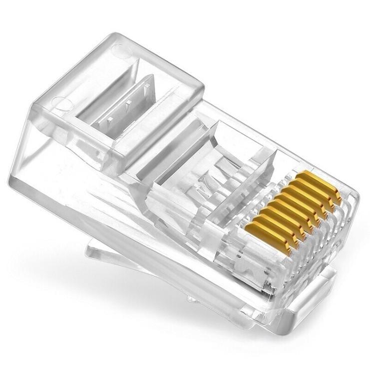 【勁昕科技】六類穿孔式水晶頭 cat6通孔RJ45網路線接頭 8P8芯純銅鍍金/盒裝100顆