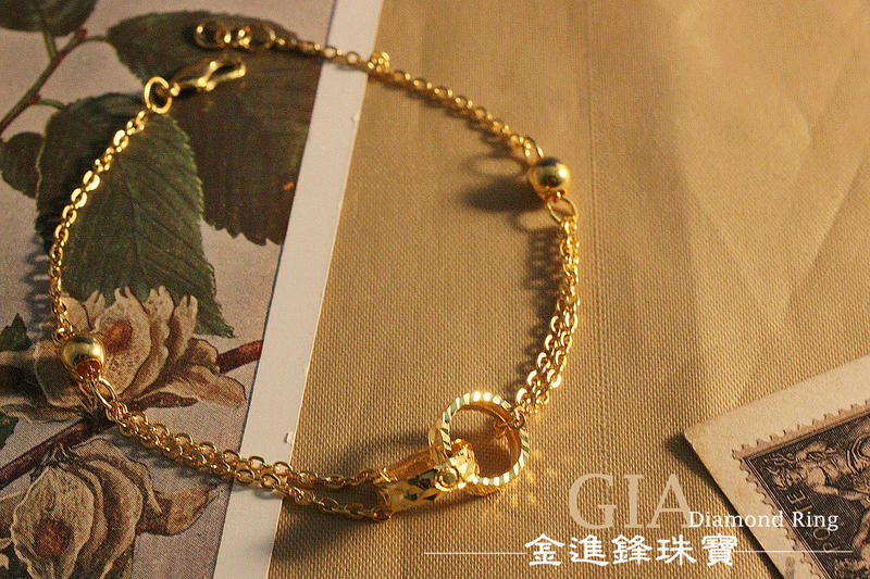 雕刻圈雙鍊 黃金手鍊 純金手鍊 金飾手鍊 G012889 重1.15錢 JF金進鋒珠寶金飾