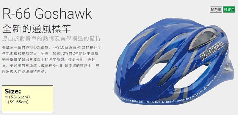 【普威 單車 自行車安全帽】6系列 R-66 Goshawk M 尺寸 異風藍 台灣製 競賽用 路跑車