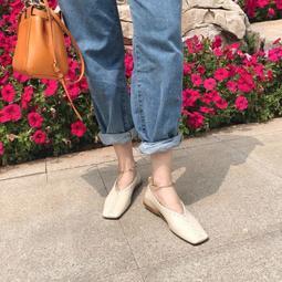 【鳳眼夫人】早秋自製訂製款 2色 復古韓版簡約方頭編織鐵環腳鍊設計淺口休閒百搭平底鞋 仙女鞋學生小皮鞋奶奶鞋方頭鞋森女系