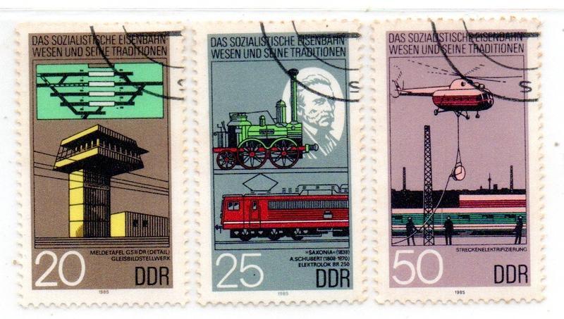 ^.^飛行屋(展示品出清)世界各國郵票-DDP 東德郵票-鐵路建設郵票 3全(1985年發行)舊票