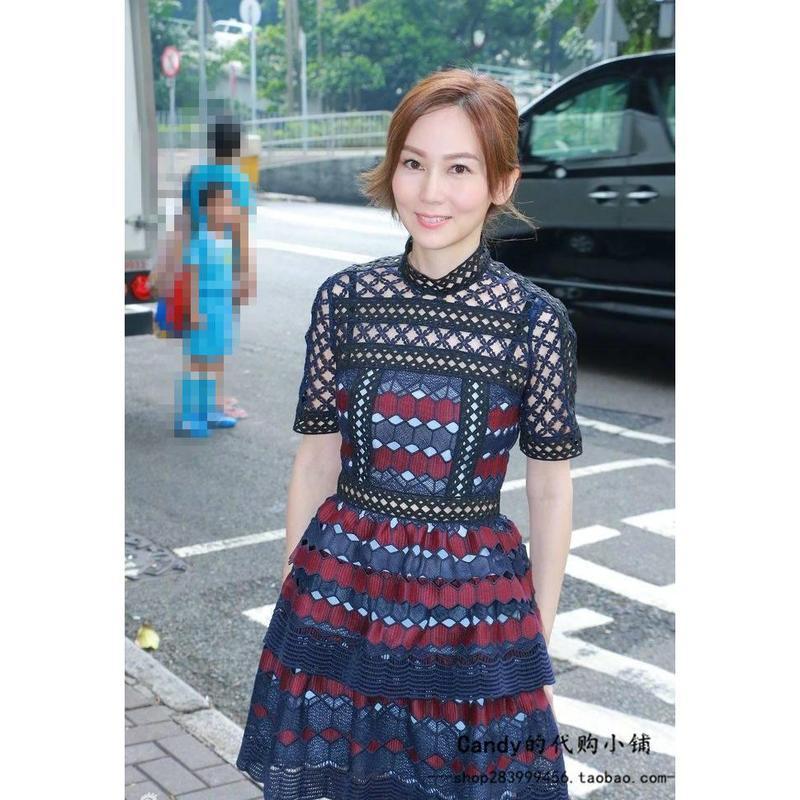 2896#秋裝新款明星同款格紋蕾絲裙分層連衣裙
