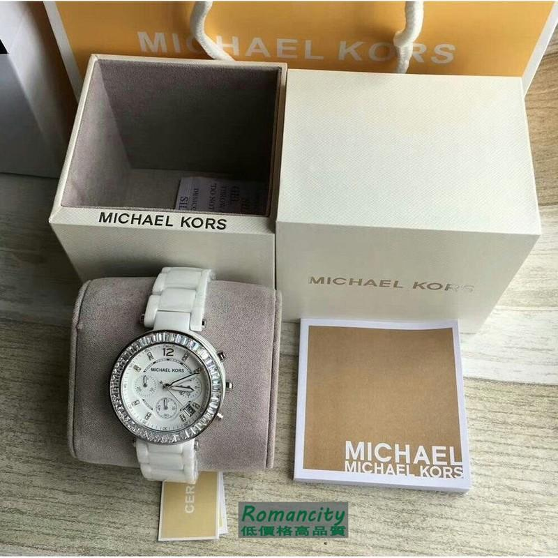 Michael Korsmk女款三眼六針鑲鑽鑽石刻度圓盤日曆夜光計時碼錶女士陶瓷石英腕錶mk5848