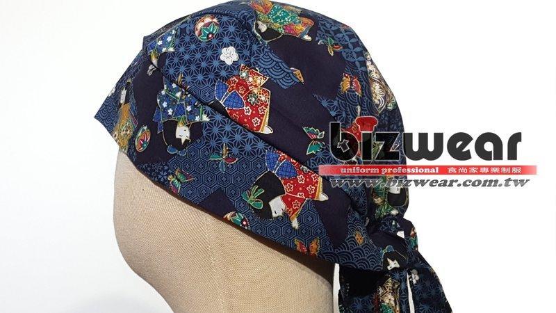 【食尚家】-餐廳外場服務生帽子/綁帶式衛生帽/改良頭巾/海盜帽/日式頭巾/包布式頭巾/和風綁帶帽/藍色日本娃娃