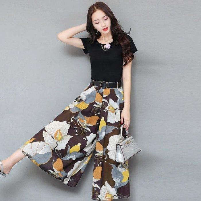 寬褲_女裝夏裝新款潮闊腿褲套裝女時尚雪紡印花長款寬腿裙褲兩件套
