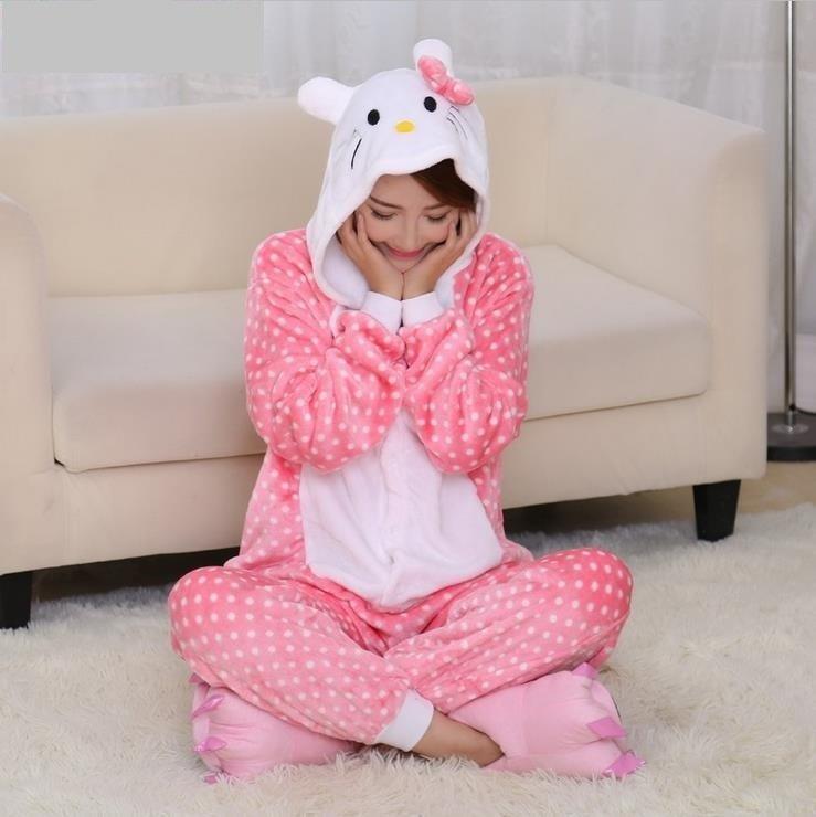 【現貨~四件免運】粉點kitty貓連身睡衣卡通睡衣卡通連身睡衣動物睡衣法蘭絨連身睡衣cosplay角色扮演服造型睡衣