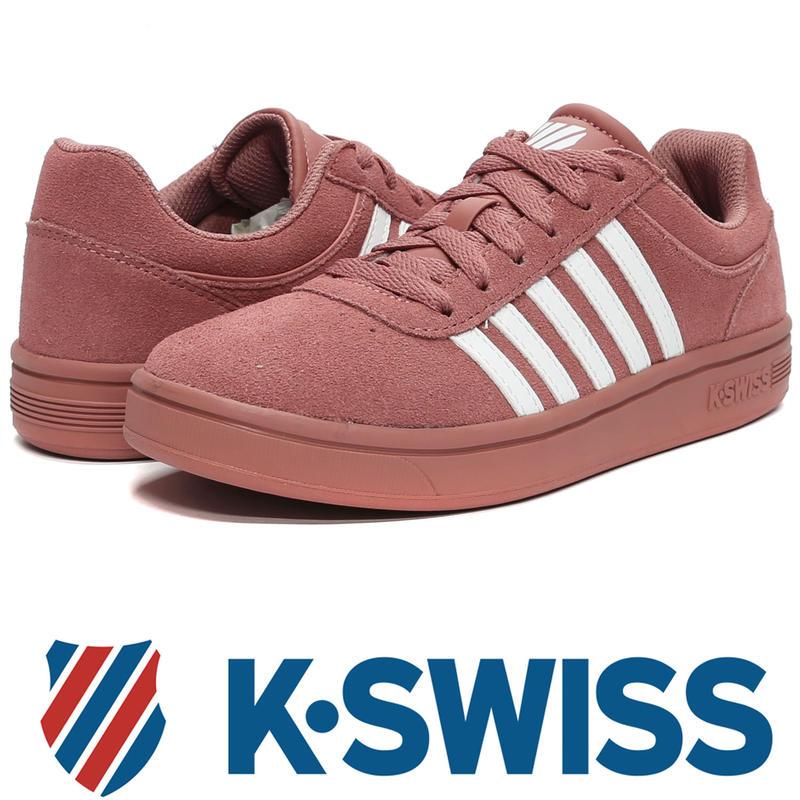 鞋大王K-SWISS 95676-641 乾燥玫瑰 反毛皮休閒運動鞋【免運費,加贈鞋油和襪子】730K