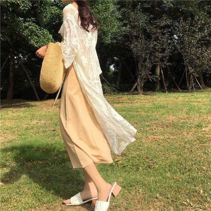 夏季復古風溫柔蕾絲提花中長款繫帶透視薄款度假防曬衫開衫外搭女