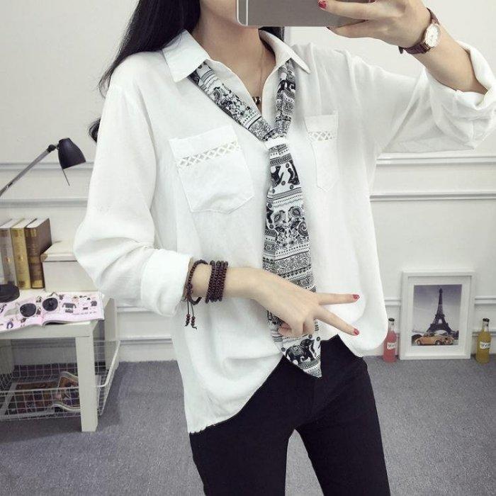 新款學院風白襯衫女長袖套頭文藝棉麻寬鬆大碼時尚領結襯衣潮