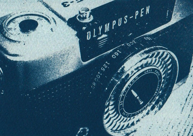 光合放相館《藍曬、氰版顯影、cyanotype》藍曬作品--OLYMPUS-PEN EE3