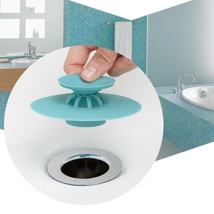 [Hare.D]按壓式防臭蓋 防蟲防臭二合一 廚房衛浴按壓式彈跳集髮防臭排水孔蓋