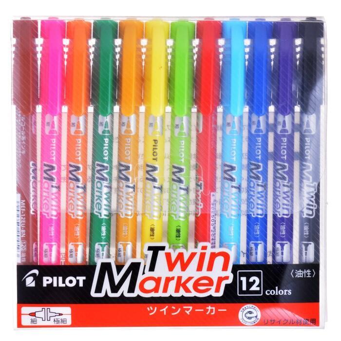 【阿筆文具】// PILOT 百樂文具 //雙頭嘜克筆 油性筆 麥克筆-細 MEF-144EU-12c (12色組)