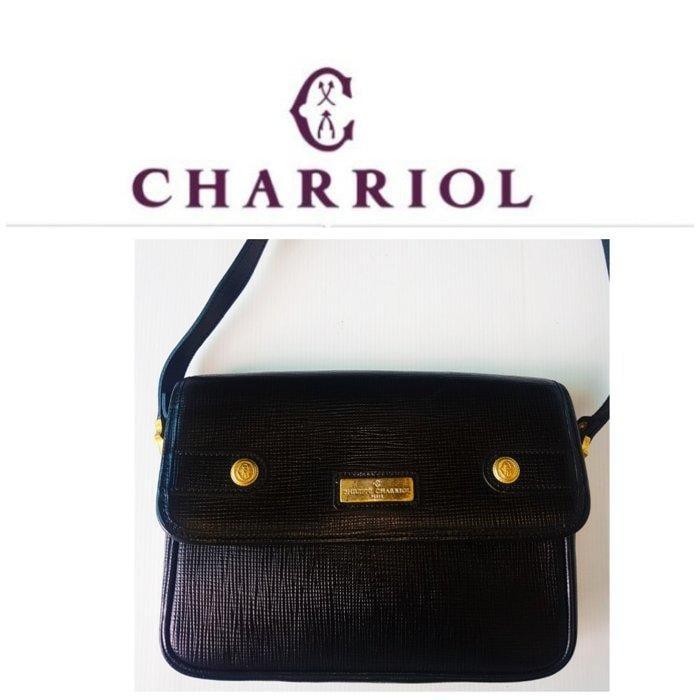 夏利豪 PHILIPPE CHARRIOL 復古皮革黑色真皮 斜背包 側背 馬鞍包 郵差包 古董包 古着真品 有LV
