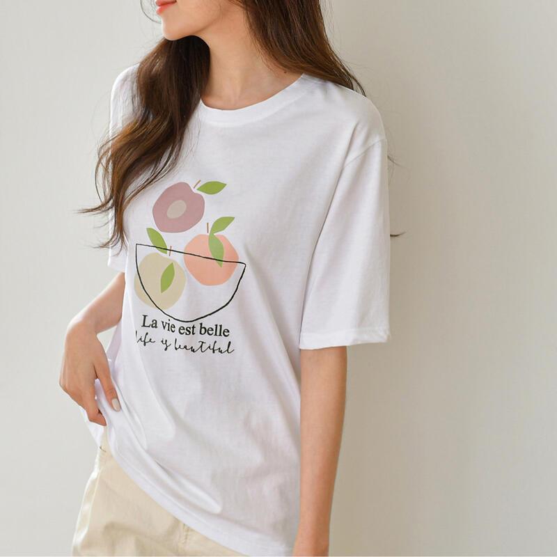 【APPLE'S 韓國代購】100%正品支持驗證 正韓空運 春季新款女裝上衣休閒可愛水果舒適五分袖T恤-2色(預購)