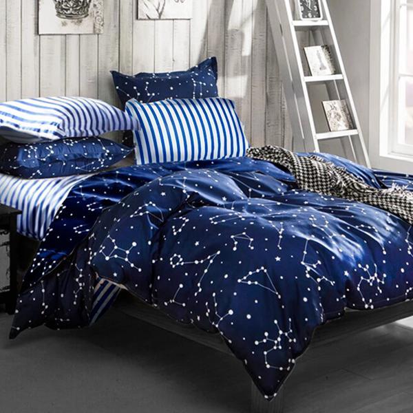 床包被套組-雙人【流星雨】含兩件枕套, 雪紡絲,磨毛加工處理 Artis台灣製