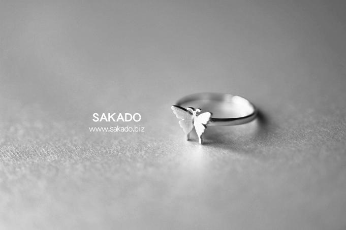 925純銀戒指-阪堂SAKADO-韓版設計師款--拉絲蝴蝶(尺寸可調)