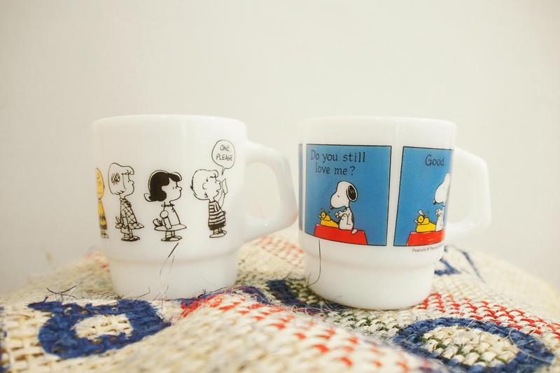 日本史努比博物館限定 Fire King Snoopy印花牛奶杯