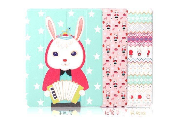 ROCK APPLE iPad Mini iPad 4 iPad4 兔子小雞 側掀可立式皮套 側翻保護套 皮套 保護殼 保護套 背蓋 只有手風琴/紅房子/民族紋