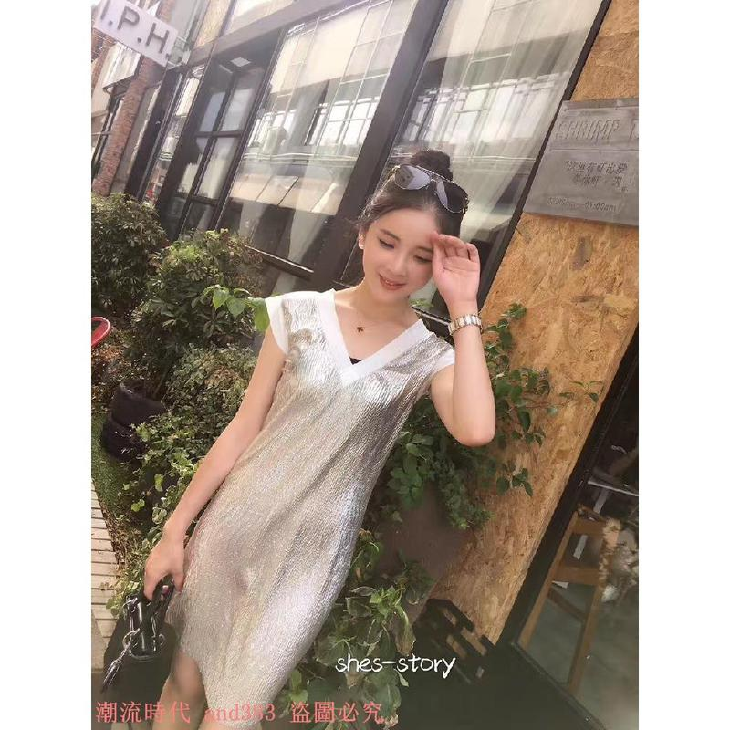 泰國潮牌氣質V領金閃閃銀絲小飛袖修身假兩件A字裙連衣裙女