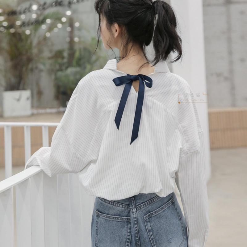 【晨曦貓】日系森林系 簡約條紋綁帶大蝴蝶結寬鬆長袖襯衫 BQ-90374