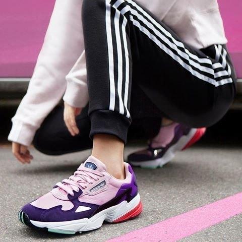 buy on feet at new collection S.G ADIDAS FALCON 愛迪達 三葉草 普烏 粉紫紅 復古 老爹鞋 運動休閒 慢跑鞋 女鞋 BD7825