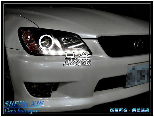 《晟鑫》全新 LEXUS 凌志 IS200 IS300 LED燈眉 黑底 光圈 魚眼 大燈 另有對應原廠HID版