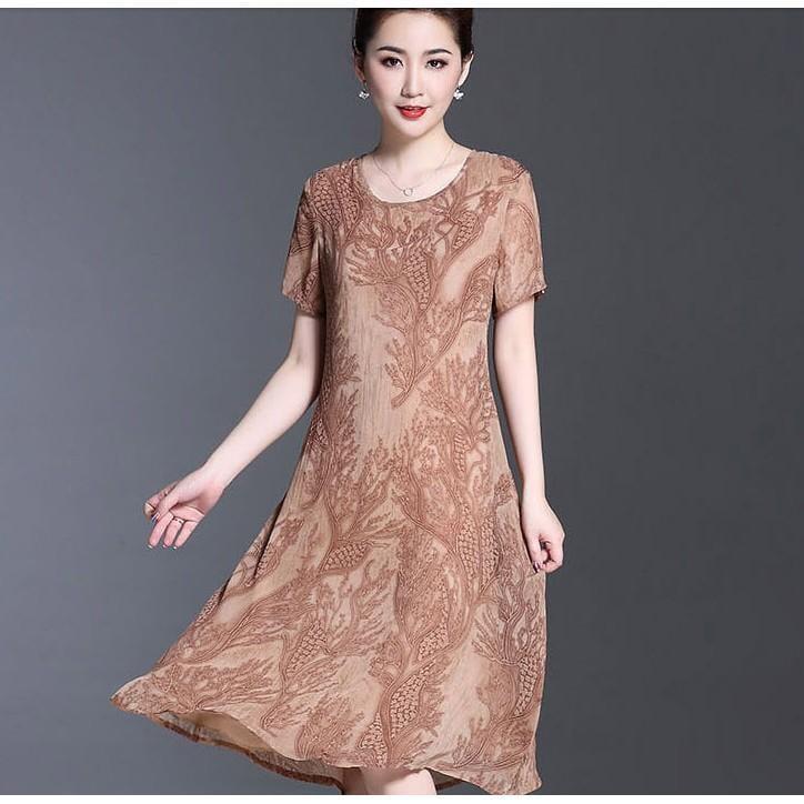 2017新款中老年女裝媽媽裝夏裝雪紡連衣裙中長款中年大碼短袖裙子
