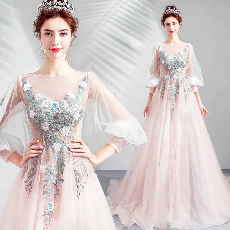 2020天使嫁衣新款 森系超仙高貴美艷粉色新娘敬酒服婚紗宴會公主燈籠長袖禮服
