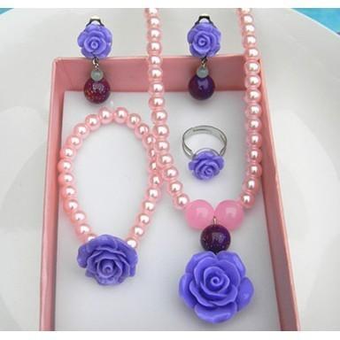 ❤樂樂購❤全新款韓版公主首飾品套裝可愛玫瑰花兒童仿珍珠項鍊手鏈戒指小女孩耳夾❤G80405