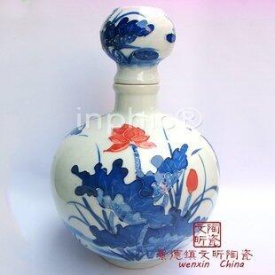 INPHIC-陶瓷手繪荷花金魚圖白酒瓶5斤裝