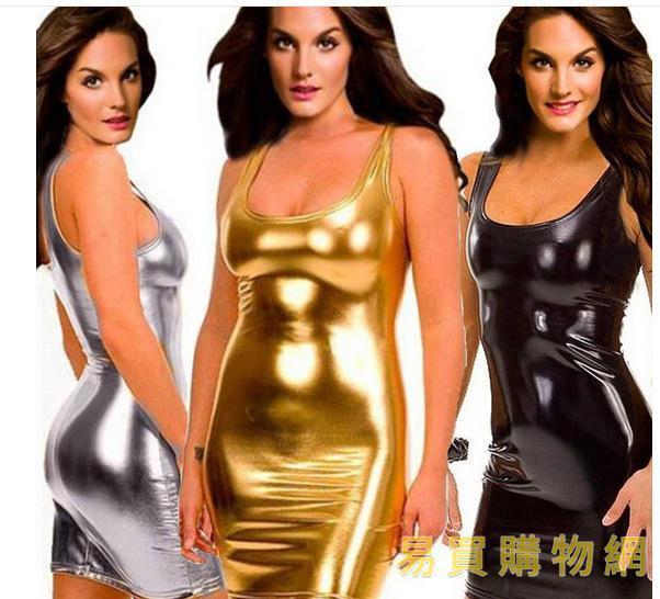 易買購物網-情趣三點式歐美情趣內衣 漆皮裝漆皮夜店裝 性感內衣漆皮吊帶裙睡衣4409