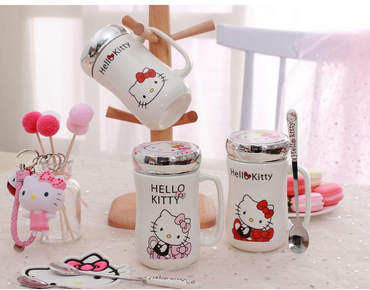 [estilo艾斯堤洛]Hello Kitty馬克杯(含蓋子、湯匙)(預購)