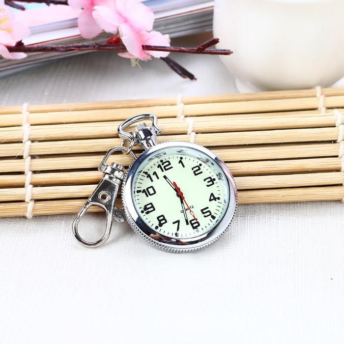 【熱賣】現貨  老人清晰大數字夜光懷表鑰匙扣掛表學生考試用石英項鏈表護士表