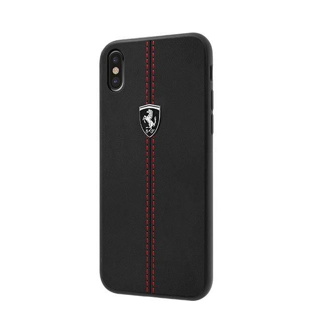 便宜3C量販 Ferrari 法拉利 IPhoneXS/XR/XS MAX真皮直紋縫線背蓋(黑色) 先創公司貨