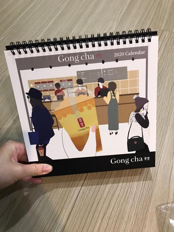 全新 2020最新款 貢茶 gongcha 正品 三角桌曆 月曆 日曆 辦公室 記事 約會旅行規劃 提醒事項 市面難找
