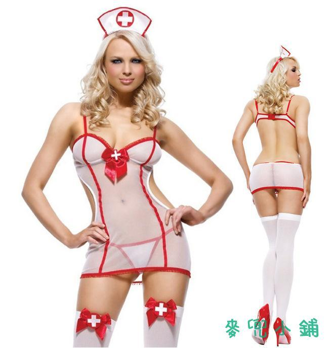 麥兜小鋪-免脫性感情趣內衣歐美 性感護士制服誘惑網紗女士情趣套裝 批