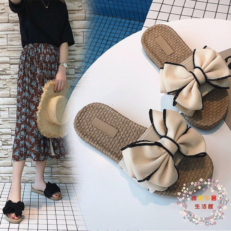 新款沙灘拖鞋女夏蝴蝶結厚底一字拖平底防滑時尚外穿海邊度假涼拖 35 40碼--脆殼蟹