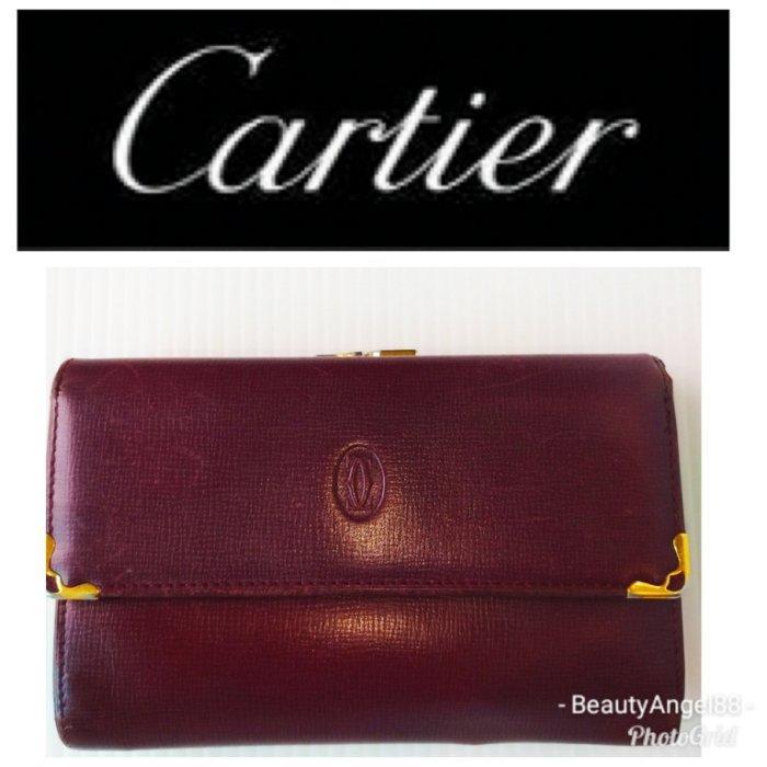 CARTIER 卡地亞Must de Cartier小牛皮3折珠扣中夾 皮夾 錢包 發財夾零錢包$798 1元起標有LV