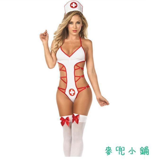 麥兜小鋪-免脫性感歐美 情趣內衣情趣護士制服誘惑連體護士套裝